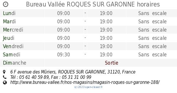 Bureau Vallee Roques Sur Garonne Horaires 6 F Avenue Des Muriers