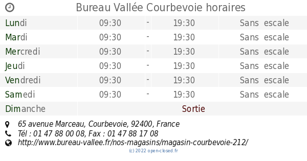 Bureau Valle Courbevoie horaires 65 avenue Marceau