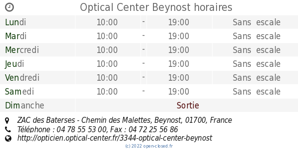 Optical Center Beynost horaires, ZAC des Baterses - Chemin des Malettes 79b3cfce4e40
