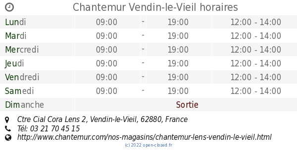Chantemur Vendin-le-Vieil horaires, Ctre Cial Cora Lens 2