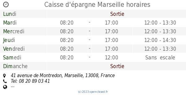 Caisse D Epargne Marseille Horaires 41 Avenue De Montredon