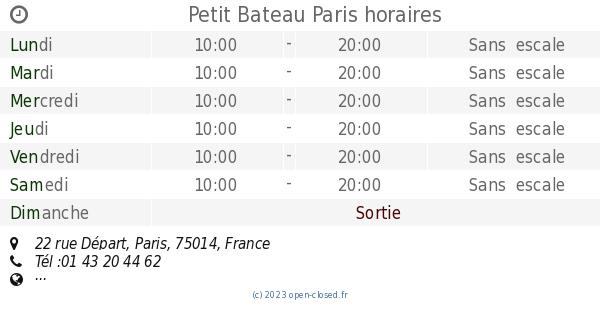0492823ea82ba Petit Bateau Paris horaires, 22 rue Départ