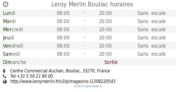 Leroy Merlin Bouliac Horaires Centre Commercial Auchan